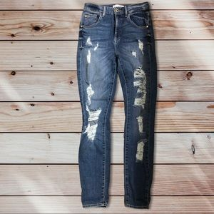 Size 27 Guess Distressed Super High Rise Jeans